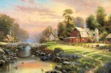 Sunset at Riverbend Farm by Thomas Kinkade