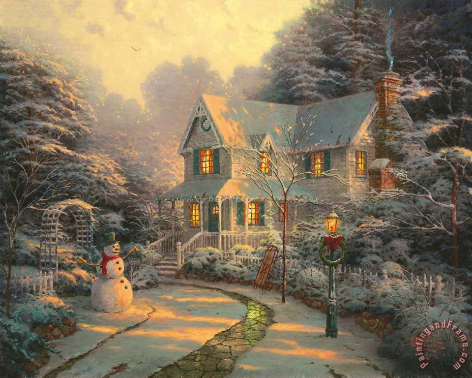 The Night Before Christmas painting - Thomas Kinkade The Night Before Christmas Art Print