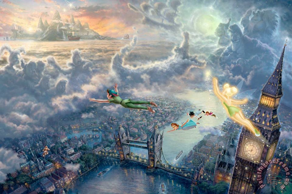 Tinker Bell And Peter Pan Fly to Neverland painting - Thomas Kinkade Tinker Bell And Peter Pan Fly to Neverland Art Print