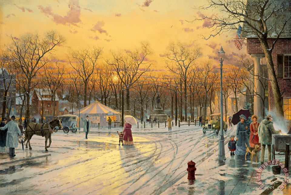 Town Square painting - Thomas Kinkade Town Square Art Print