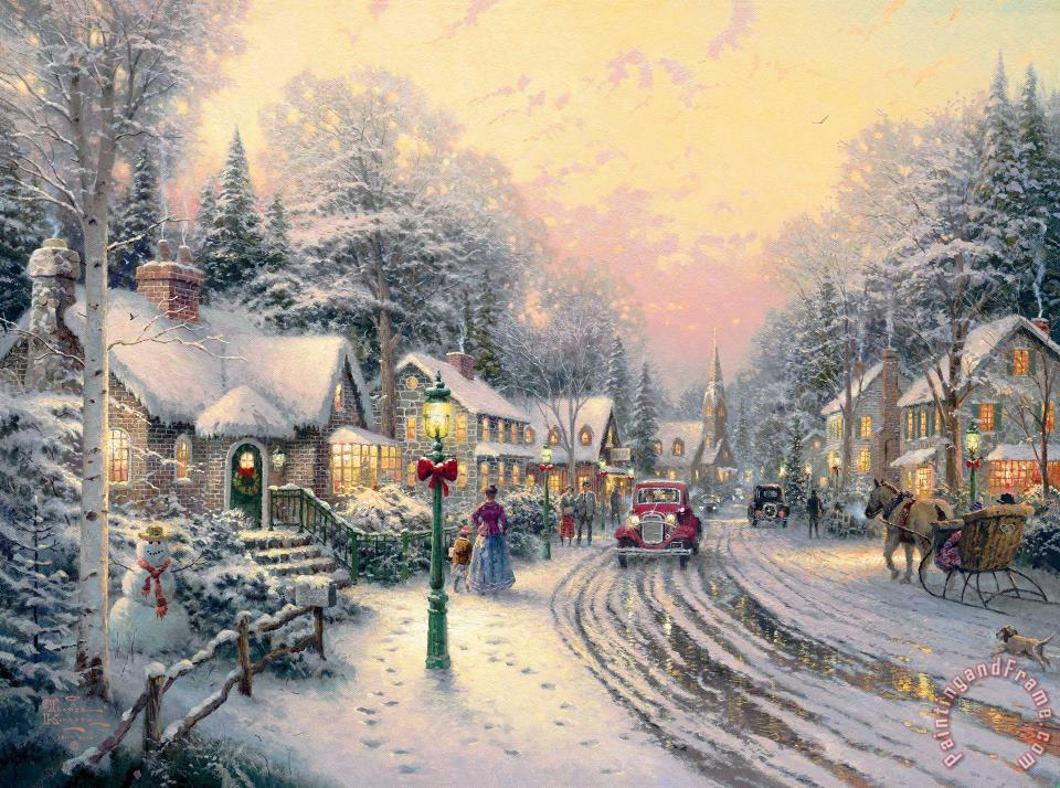 Thomas Kinkade Village Christmas Art Print