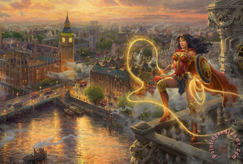 Wonder Woman - Lasso of Truth painting - Thomas Kinkade Wonder Woman - Lasso of Truth Art Print