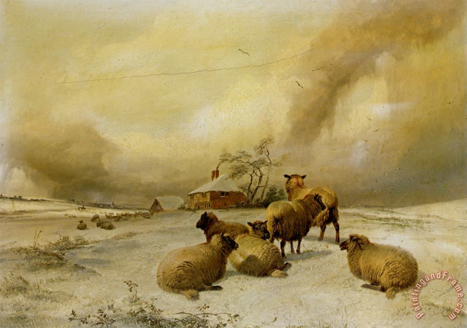 Sheep in a Winter Landscape painting - Thomas Sidney Cooper Sheep in a Winter Landscape Art Print