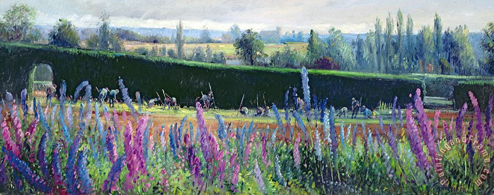 Hoeing Against The Hedge painting - Timothy Easton Hoeing Against The Hedge Art Print