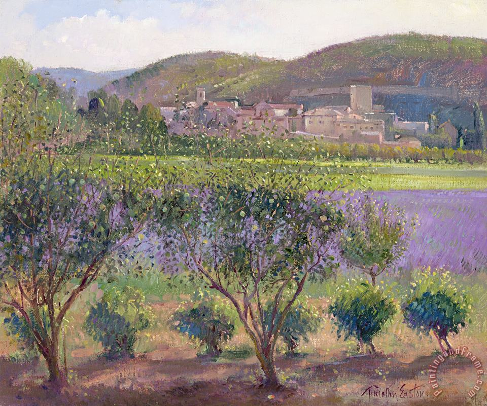 Timothy Easton Lavender Seen Through Quince Trees Art Print