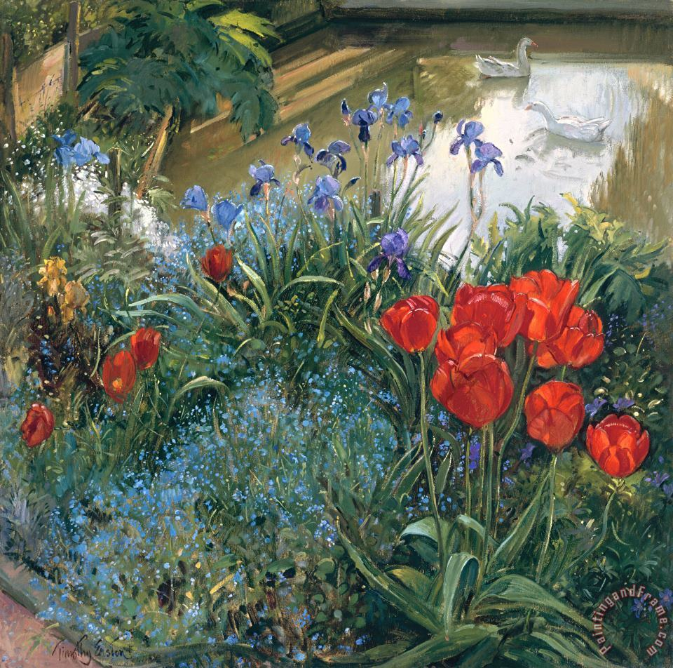 Timothy Easton Red Tulips And Geese Art Painting