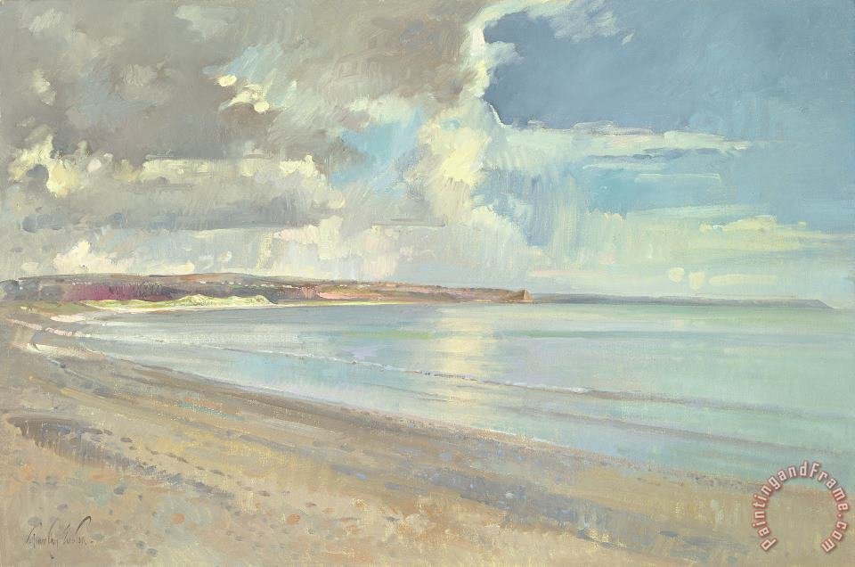 Reflected Clouds Oxwich Beach painting - Timothy Easton Reflected Clouds Oxwich Beach Art Print