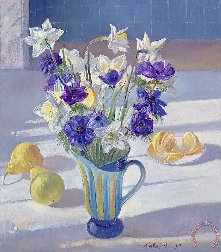 Spring Flowers And Lemons painting - Timothy Easton Spring Flowers And Lemons Art Print