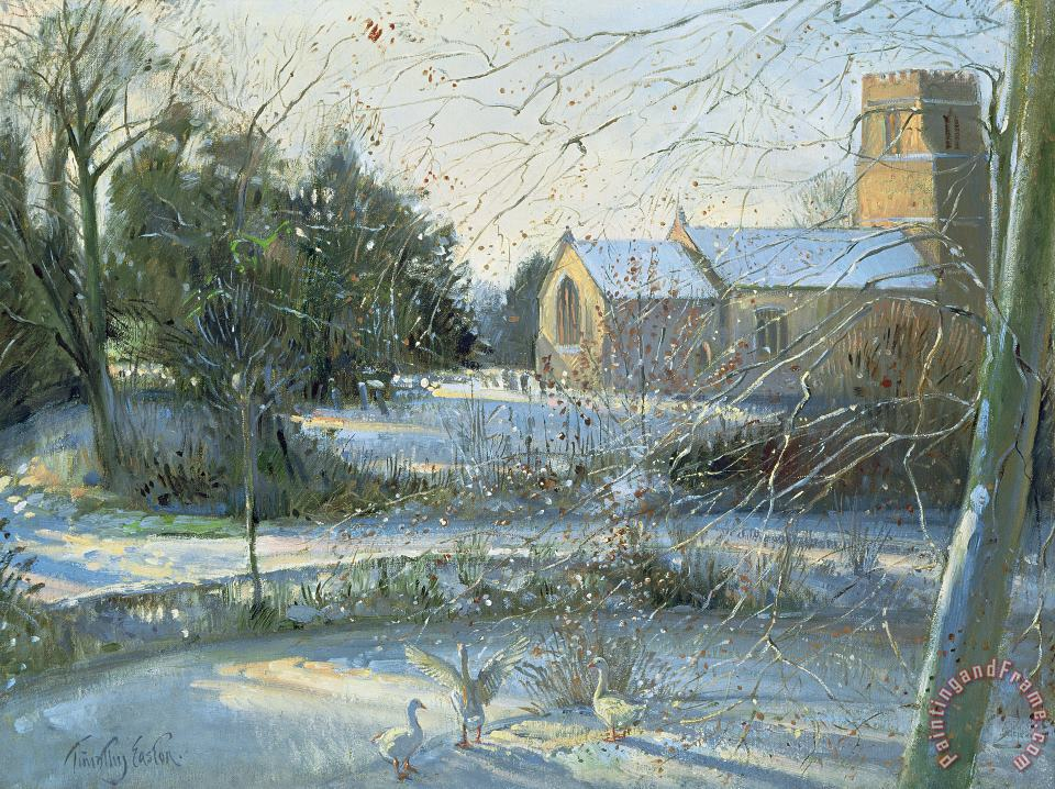 The Frozen Moat - Bedfield painting - Timothy Easton The Frozen Moat - Bedfield Art Print