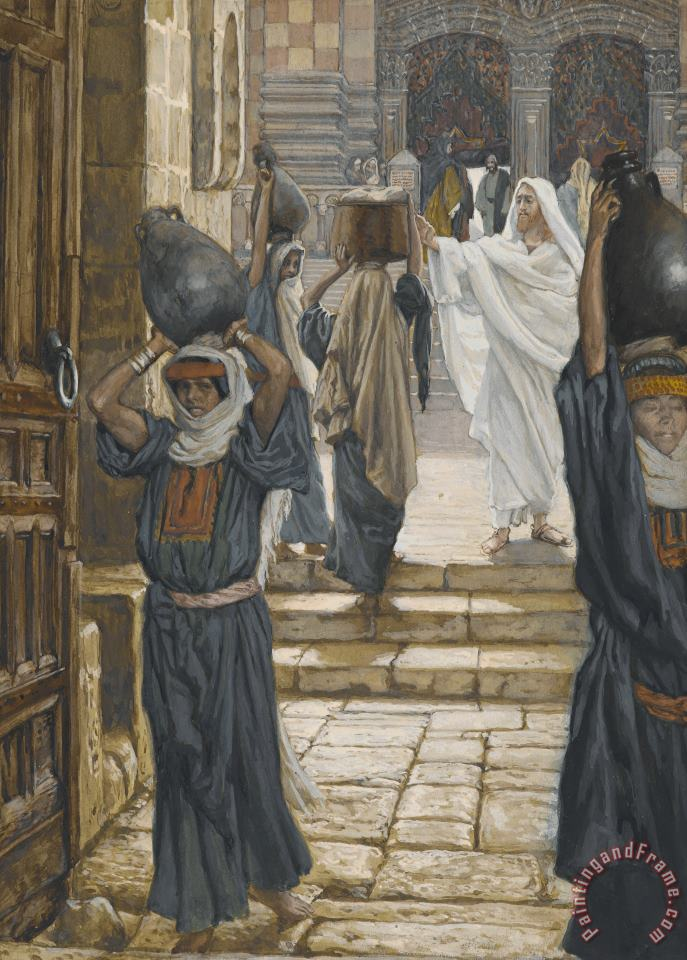 Tissot Jesus Forbids the Carrying of Loads in the Forecourt of the Temple Art Painting
