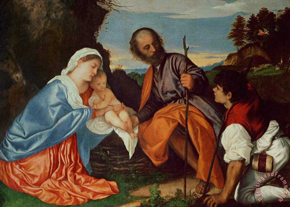 The Holy Family And a Shepherd painting - Titian The Holy Family And a Shepherd Art Print
