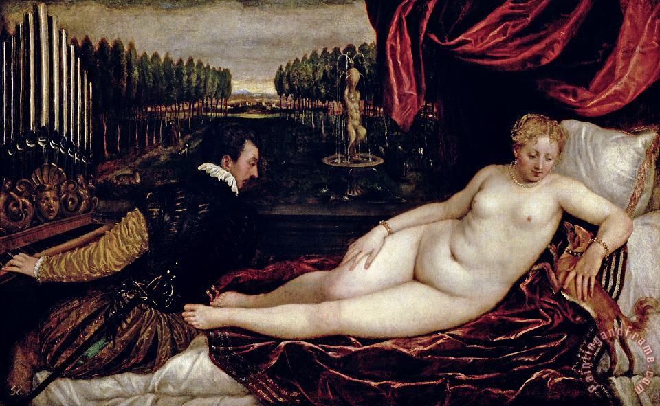 Venus and the Organist painting - Titian Venus and the Organist Art Print