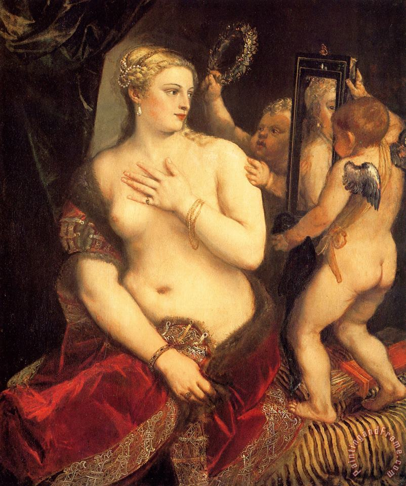 Venus in Front of The Mirror painting - Titian Venus in Front of The Mirror Art Print