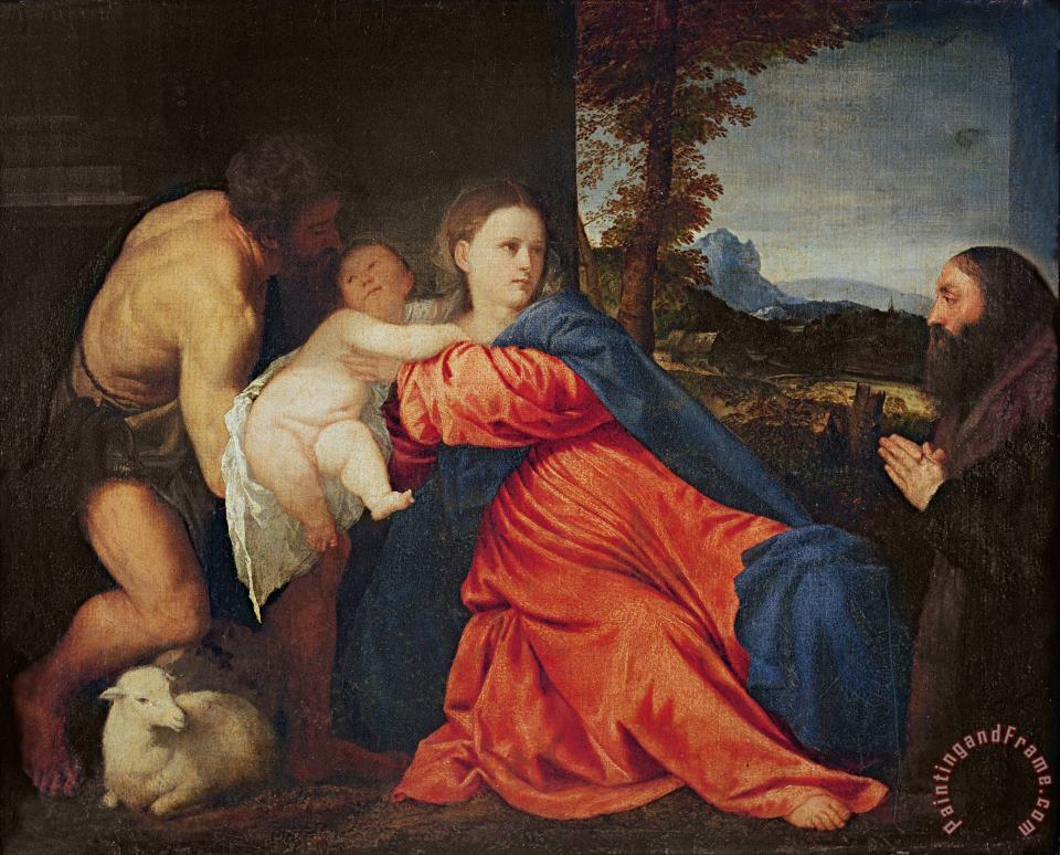 Virgin and Infant with Saint John the Baptist and Donor painting - Titian Virgin and Infant with Saint John the Baptist and Donor Art Print