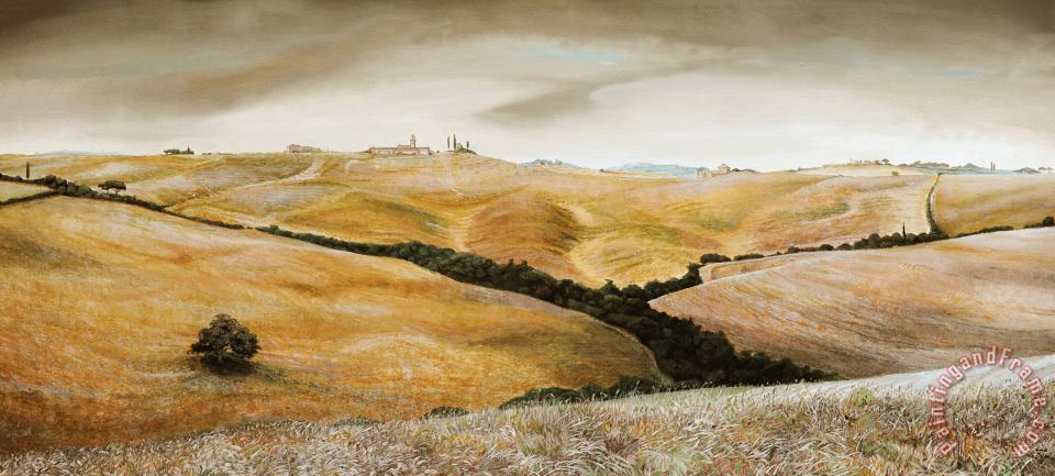 Farm on Hill - Tuscany painting - Trevor Neal Farm on Hill - Tuscany Art Print