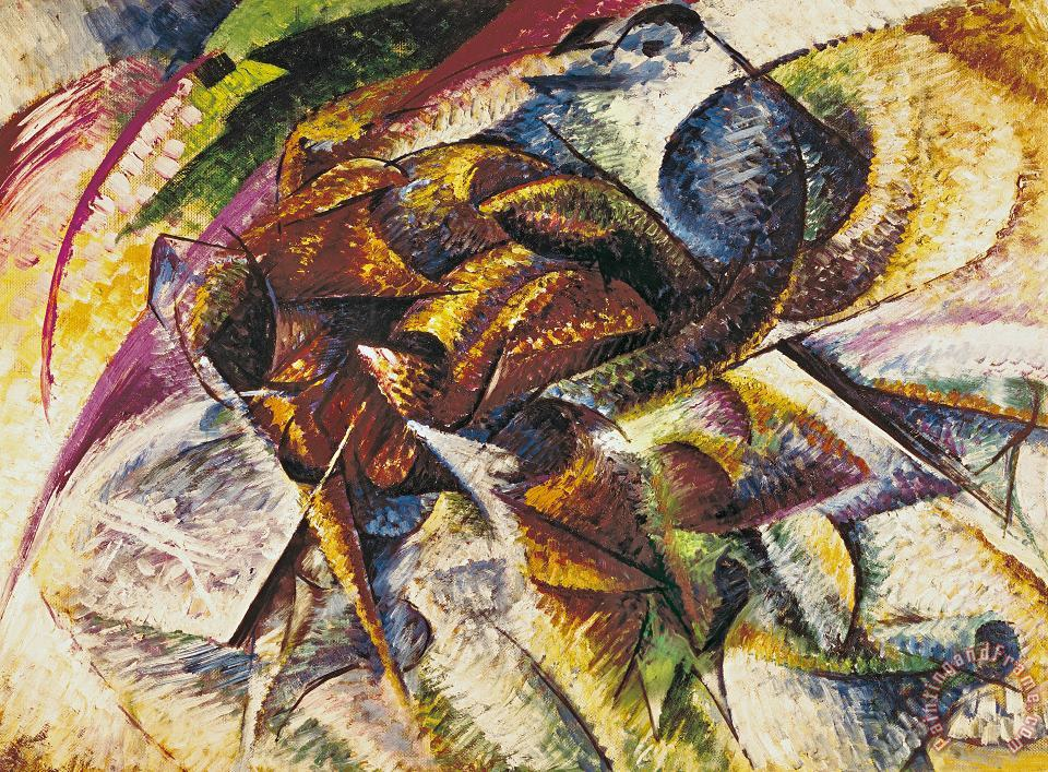 Dynamism of a Cyclist painting - Umberto Boccioni Dynamism of a Cyclist Art Print