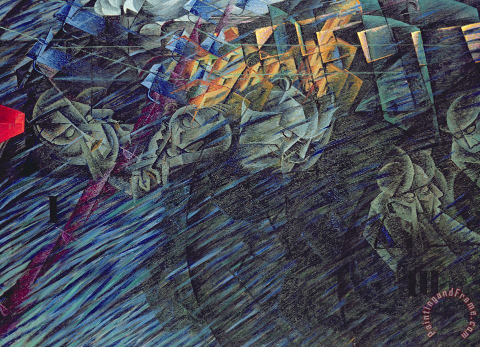 States Of Mind Those Who Go painting - Umberto Boccioni States Of Mind Those Who Go Art Print