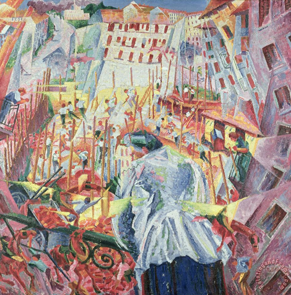 The Street Enters The House painting - Umberto Boccioni The Street Enters The House Art Print