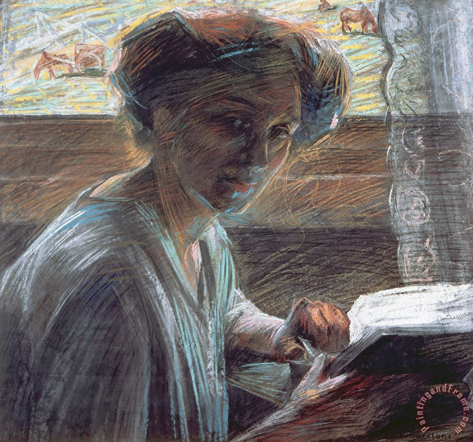 Woman Reading painting - Umberto Boccioni Woman Reading Art Print