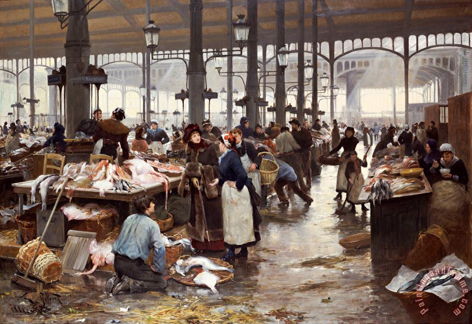 The Fish Hall at the Central Market painting - Victor Gabriel Gilbert The Fish Hall at the Central Market Art Print