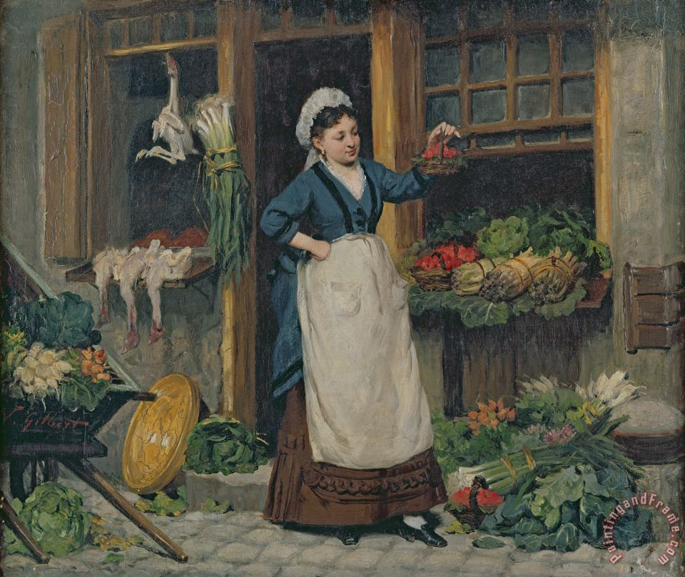 The Fruit Seller painting - Victor Gabriel Gilbert The Fruit Seller Art Print