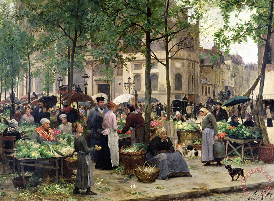 The Square in front of Les Halles painting - Victor Gabriel Gilbert The Square in front of Les Halles Art Print