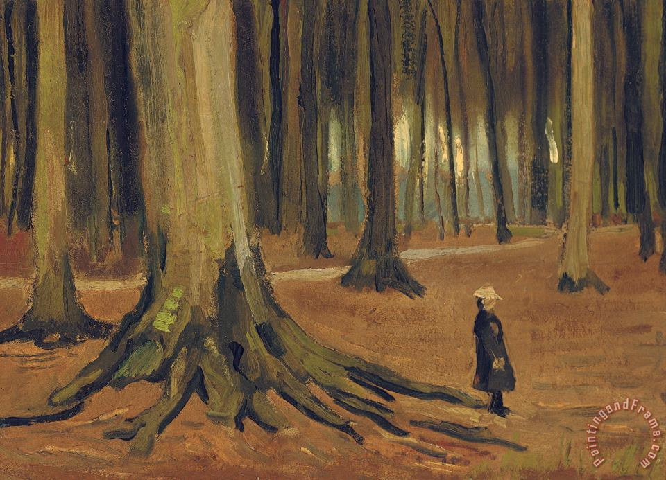A Girl in a Wood painting - Vincent van Gogh A Girl in a Wood Art Print
