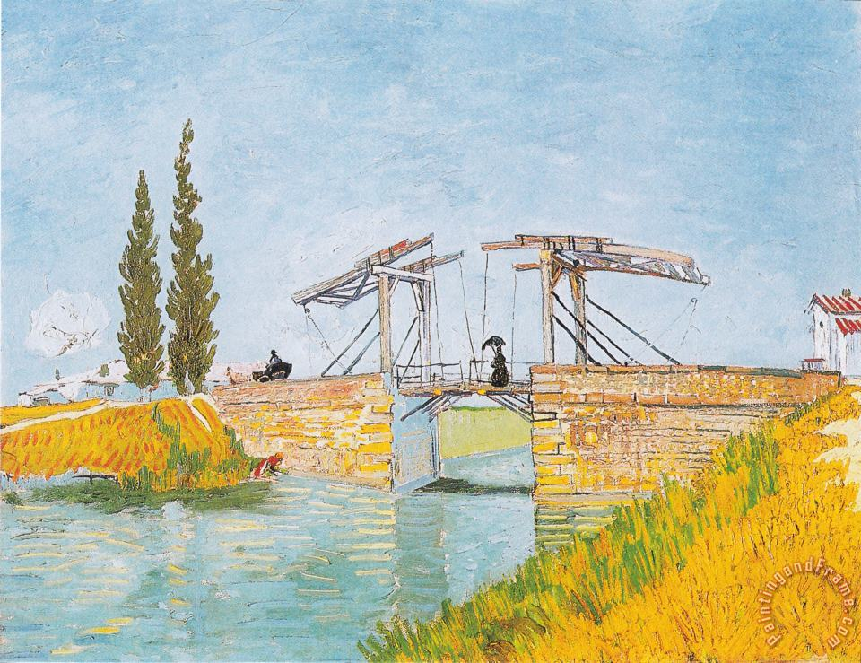The Bridge of Langlois at Arles with a Lady with Umbrella painting - Vincent van Gogh The Bridge of Langlois at Arles with a Lady with Umbrella Art Print