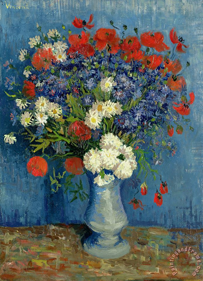 Vincent van Gogh Vase with Cornflowers and Poppies Art Print