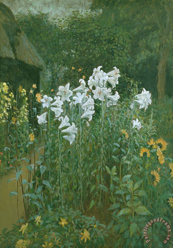 Madonna Lilies in a Garden painting - Walter Crane Madonna Lilies in a Garden Art Print