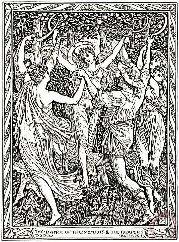 Shakespeare's Tempest Illustration Engraving painting - Walter Crane Shakespeare's Tempest Illustration Engraving Art Print