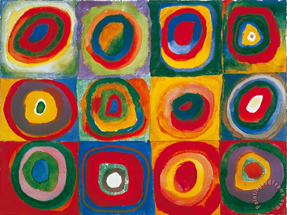 Colour Study Squares And Concentric Circles painting - Wassily Kandinsky Colour Study Squares And Concentric Circles Art Print