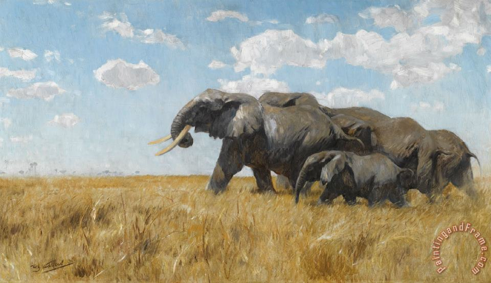 Wilhelm Kuhnert Elephants on The Move Art Painting