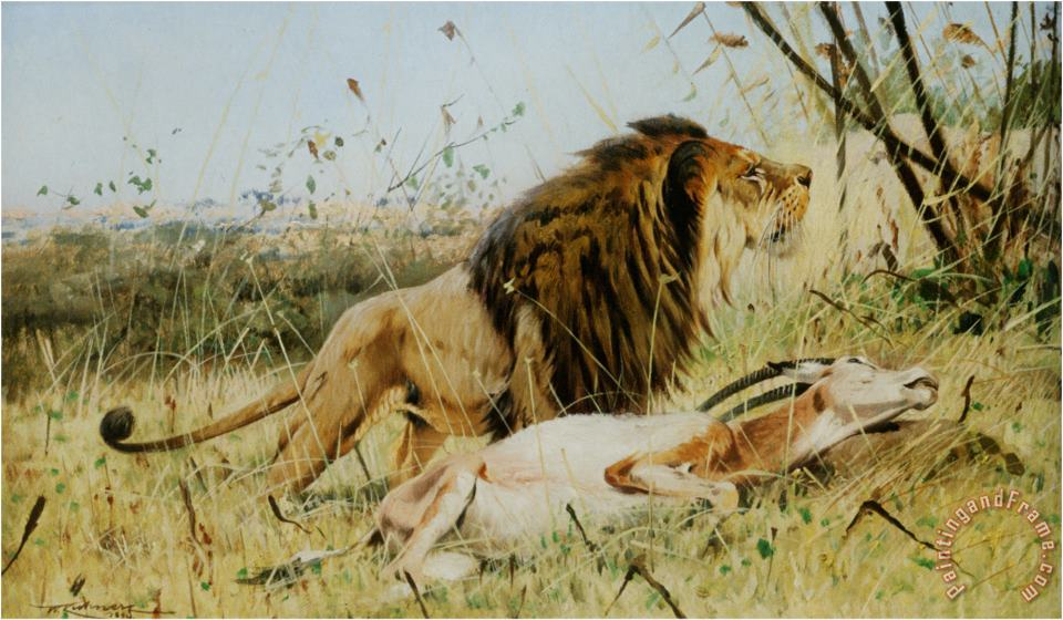 Lion And His Prey painting - Wilhelm Kuhnert Lion And His Prey Art Print