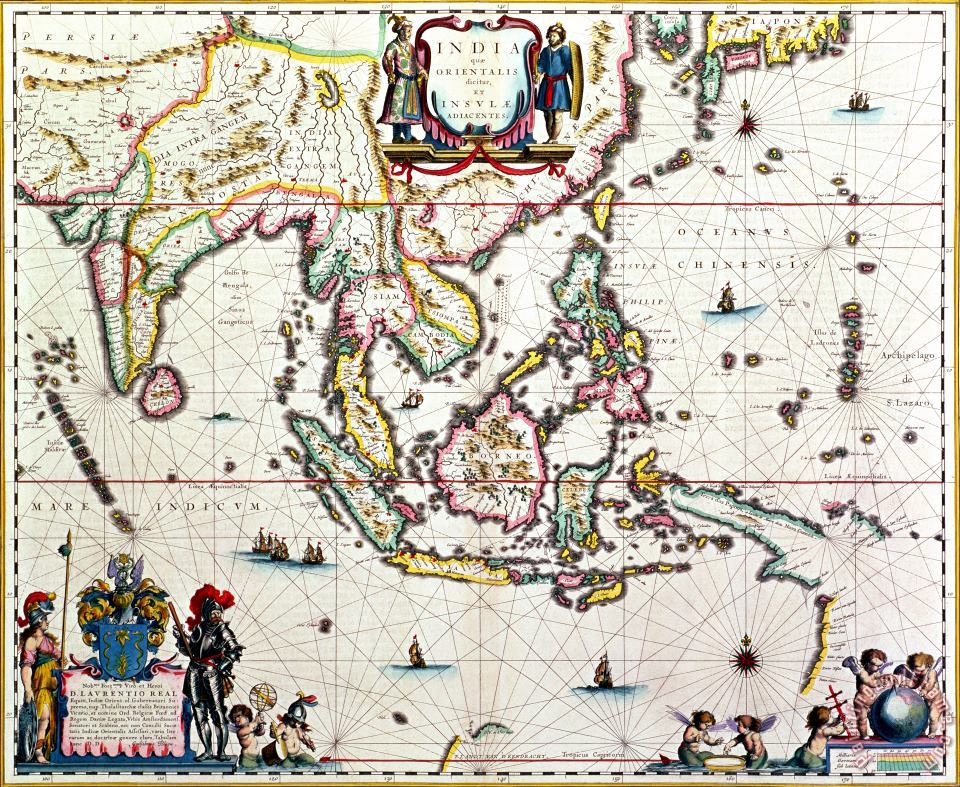 Antique map showing Southeast Asia and The East Indies painting - Willem Blaeu Antique map showing Southeast Asia and The East Indies Art Print