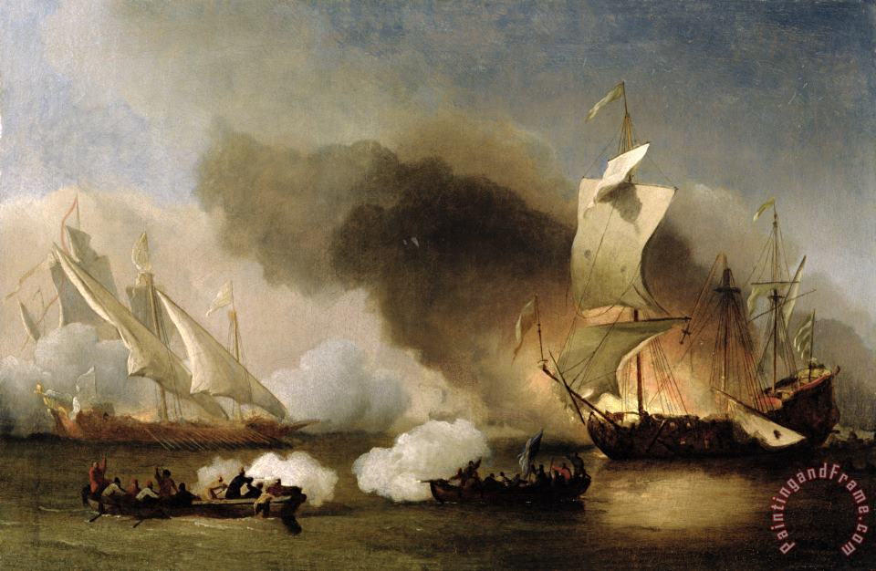 An Action off the Barbary Coast with Galleys and English Ships painting - Willem van de Velde An Action off the Barbary Coast with Galleys and English Ships Art Print