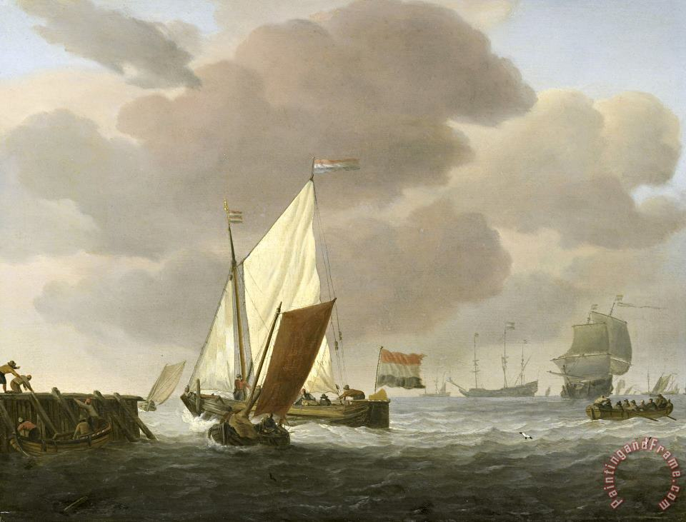 Ships Near The Coast in Windy Weather painting - Willem van de Velde Ships Near The Coast in Windy Weather Art Print