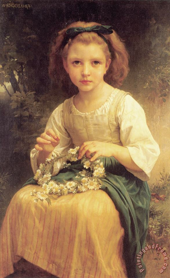 Child Braiding a Crown painting - William Adolphe Bouguereau Child Braiding a Crown Art Print