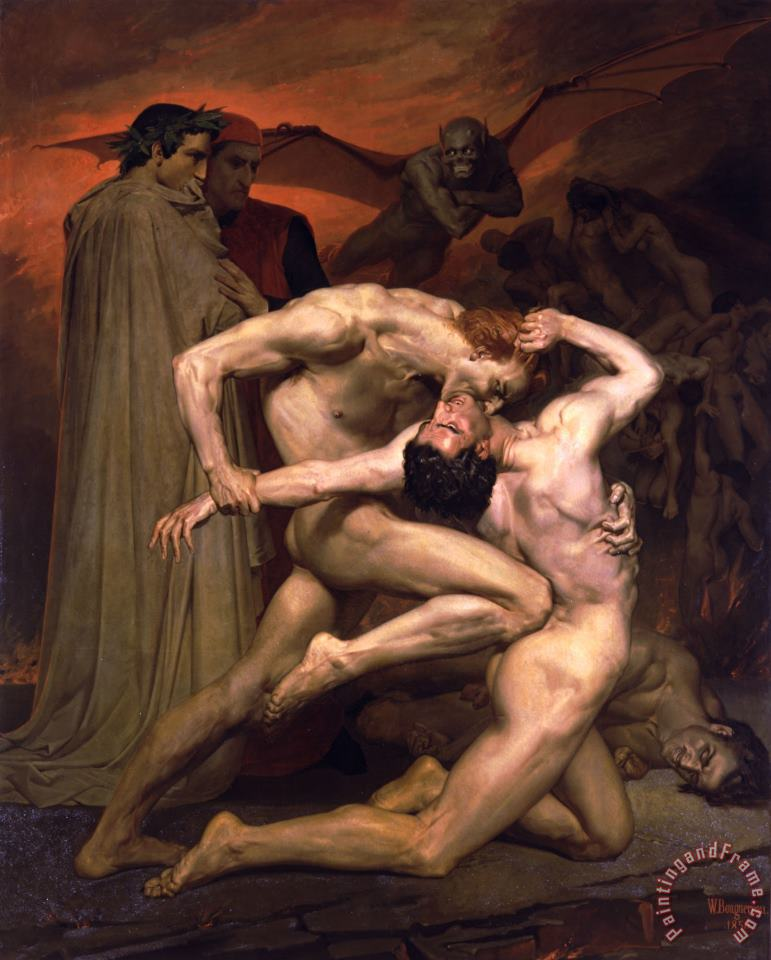 Dante And Virgil in Hell painting - William Adolphe Bouguereau Dante And Virgil in Hell Art Print