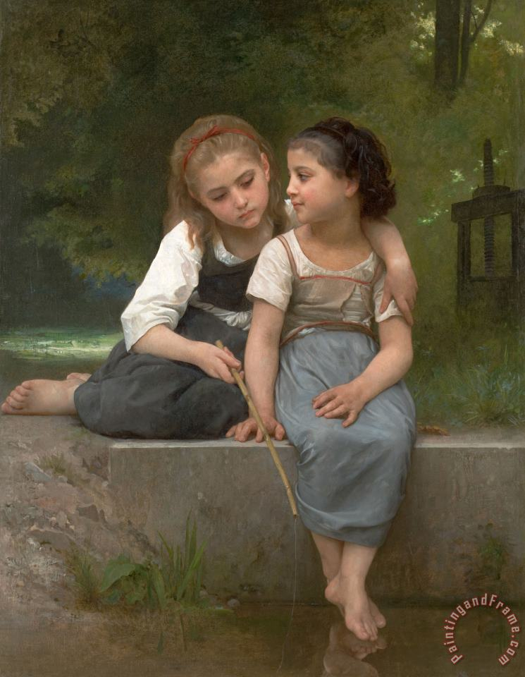 Fishing for Frogs painting - William Adolphe Bouguereau Fishing for Frogs Art Print