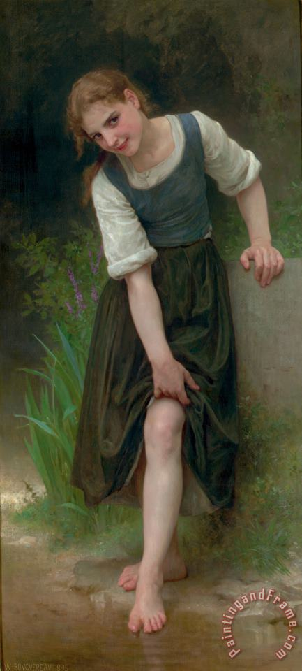 The Ford painting - William Adolphe Bouguereau The Ford Art Print