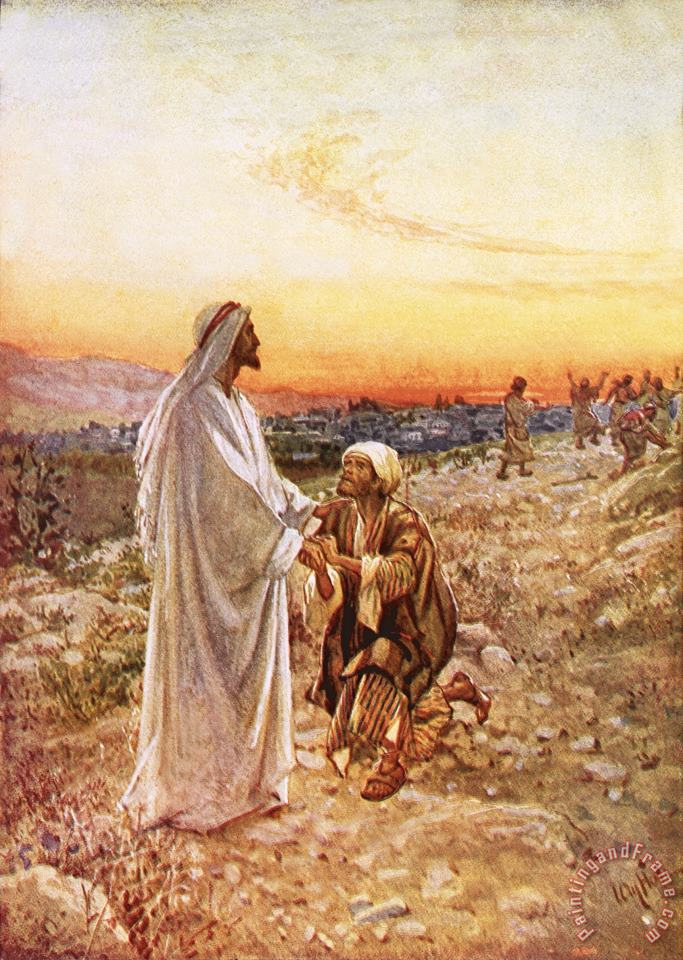 William Brassey Hole Jesus withe the one leper Who Returned to Give Thanks Art Print