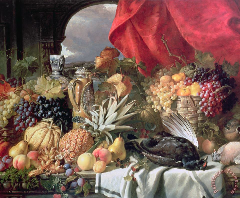 A Still Life of Game Birds and Numerous Fruits painting - William Duffield A Still Life of Game Birds and Numerous Fruits Art Print