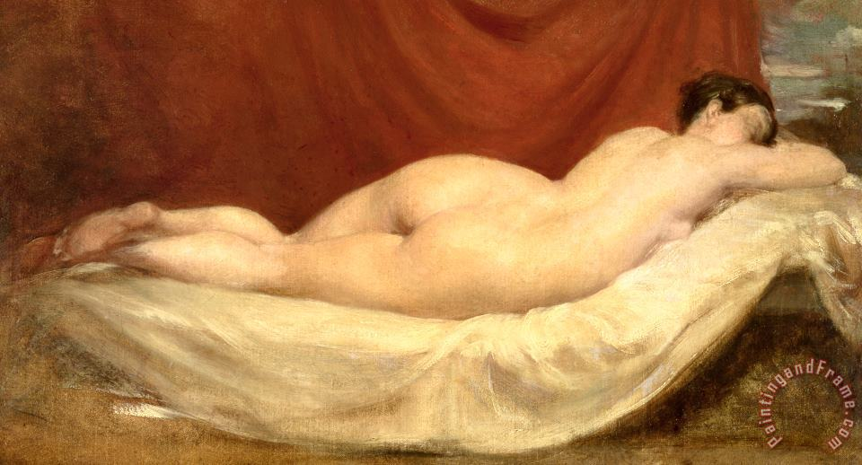 Nude Lying On A Sofa Against A Red Curtain painting - William Etty Nude Lying On A Sofa Against A Red Curtain Art Print