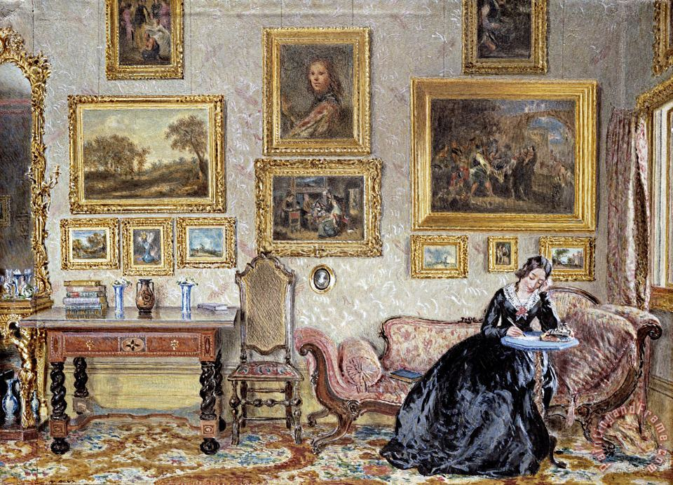 William Henry Hunt Interior of a Drawing Room Art Print