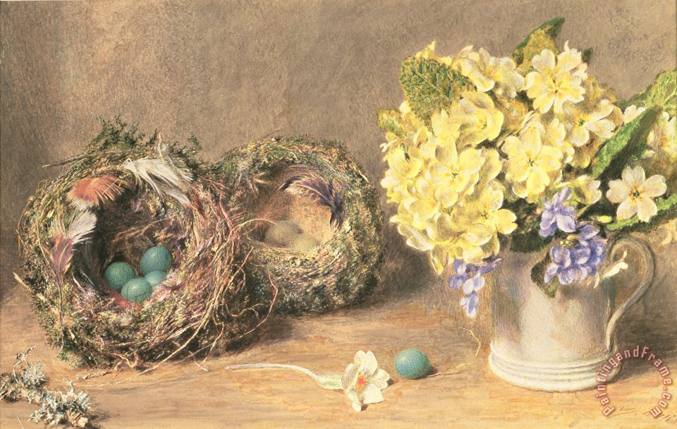 Spring Flowers and Birds' Nests painting - William Henry Hunt Spring Flowers and Birds' Nests Art Print