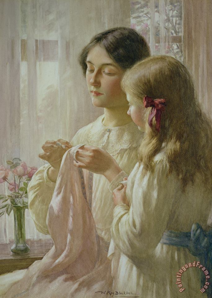The Lesson painting - William Kay Blacklock The Lesson Art Print