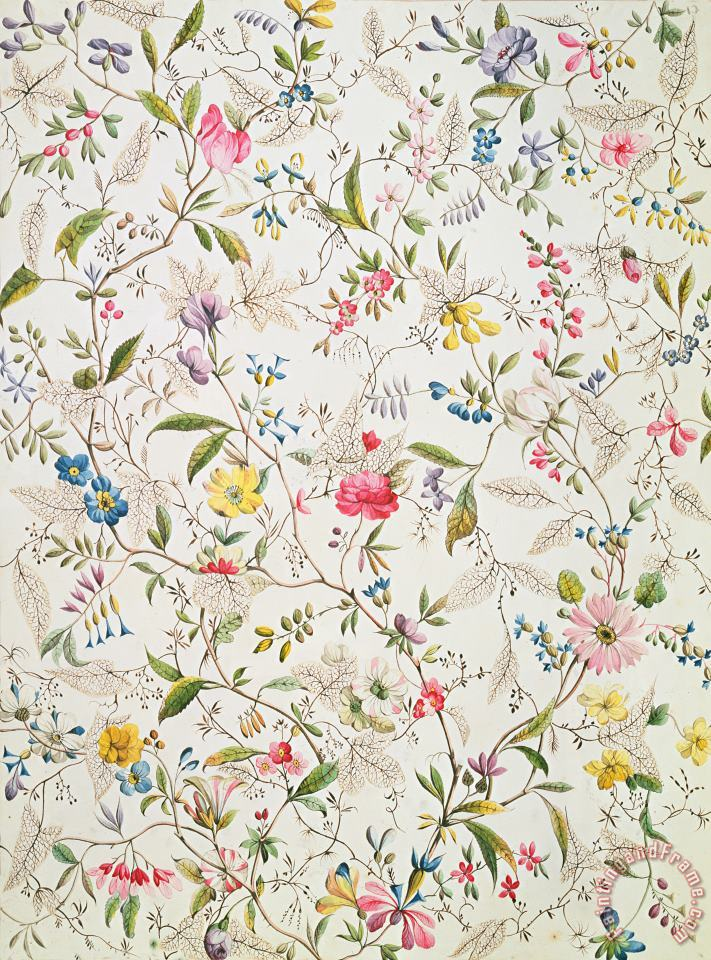 Wild flowers design for silk material painting - William Kilburn Wild flowers design for silk material Art Print
