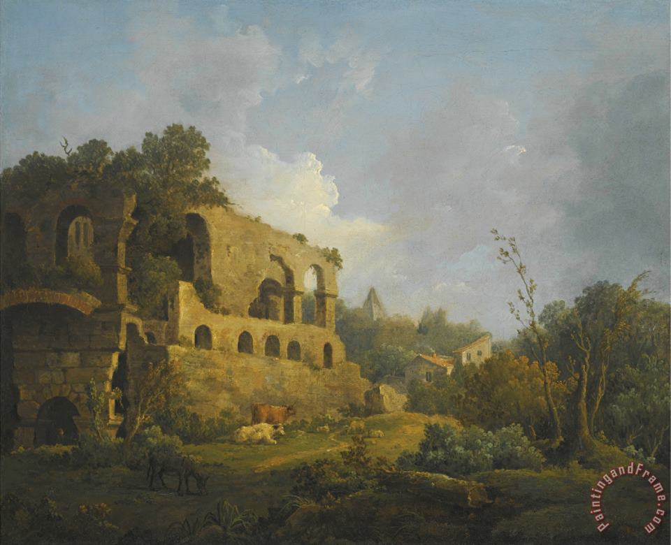 William Marlow Landscape with Classical Ruins Outside Rome with The Pyramid of Cestius Beyond Art Painting