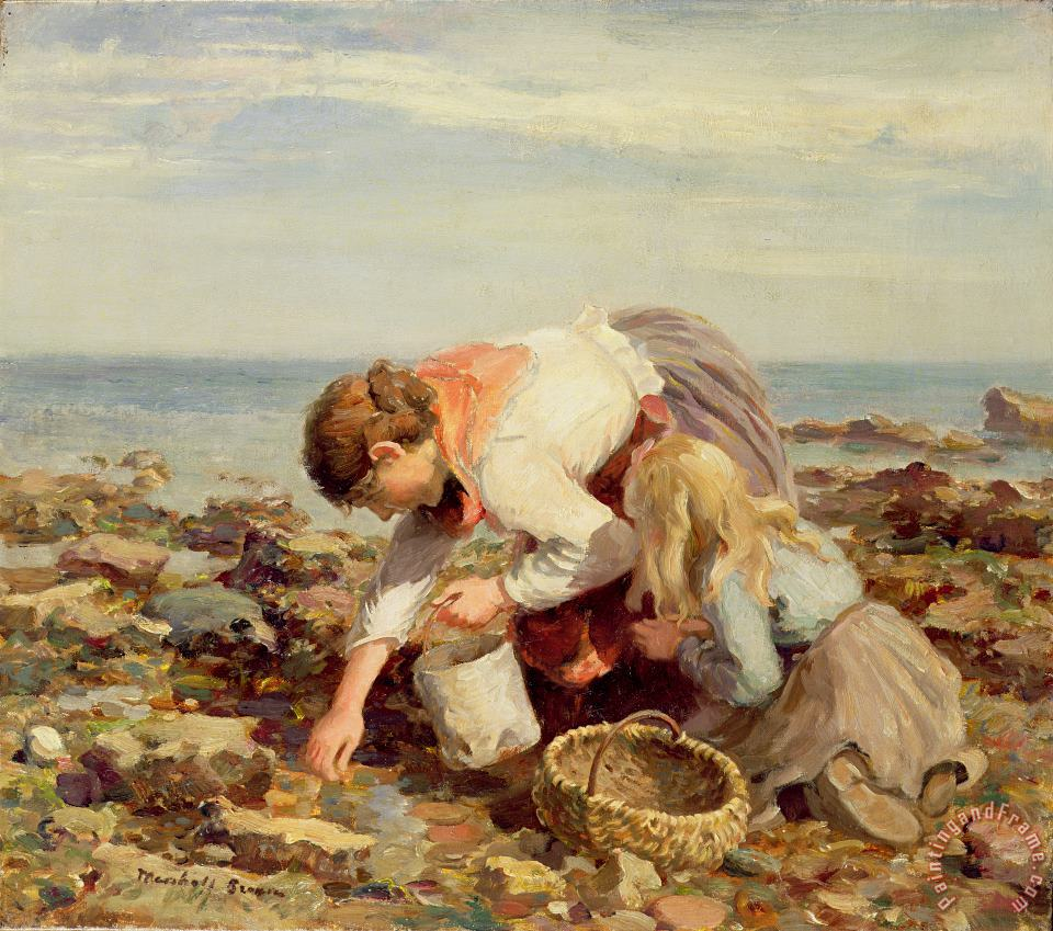 William Marshall Brown Collecting Shells Art Print
